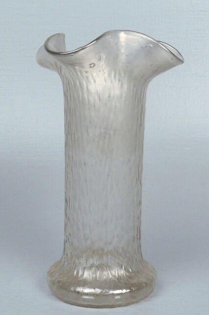 Antique Silver Or White Iridescent Kralik Art Gl Vase Nice Form