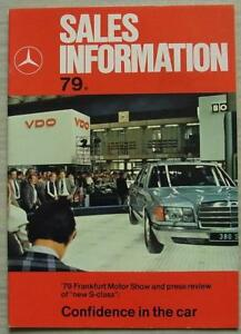 Details about MERCEDES BENZ Sales Information 1979 Employee Publication S  CLASS Press Review