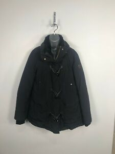 Womens Zara Basic Black Down Filled Puffer Jacket Faux Fur