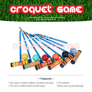 Wooden Croquet Set Outdoor Backyard Games Set-Up to 6 Players 6 Mallets  Sports