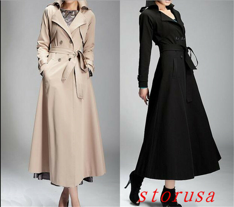 Elegant Women Lady Full Long Trench Coat Coat Coat Double Breasted Belt Coat S-2XL Size 51b7b3