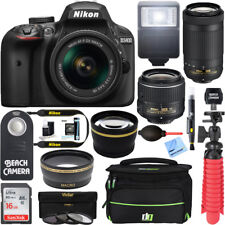 Nikon D D3400 24.2MP Digital SLR Camera - Black (Kit w/ AF-P DX 18-55mm and 70-300mm Lenses)