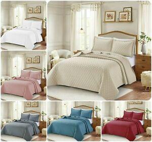 3-piezas-en-relieve-Acolchado-Colcha-Cobertor-Edredon-Con-Almohadas-Juego-De-Cama
