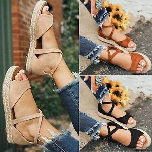 Womens-Flat-Platform-Espadrilles-Sandals-Summer-Beach-Ankle-Strap-Peep-Toe-Shoes