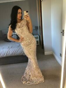 Champagne-Embroidered-Sequin-Dress-Gown-Long-V-neck-Maxi-Evening-Prom
