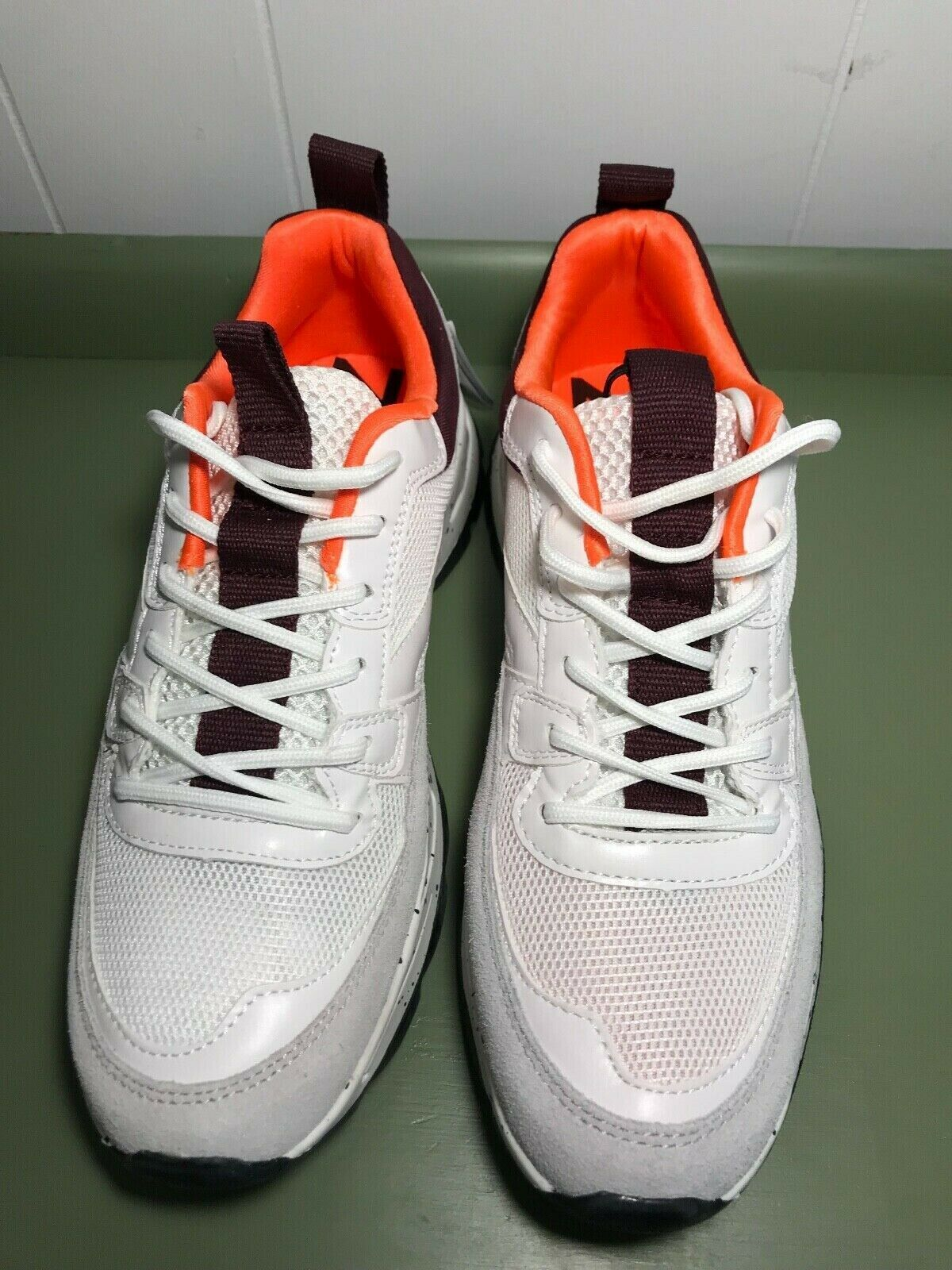 Zara Women White, Maroon and Neon orange Trainer Sneaker US Size 8 BRAND NEW