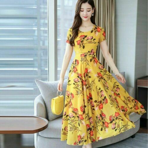 Summer  Women Sleeve Ladies      Sundress Beach Dress Short//Long Party Dresses