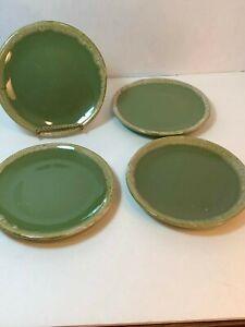 Vintage-Hull-Green-Drip-Avocado-Salad-or-Dessert-Plates-set-of-4-6-1-2-034