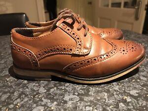 Boys River Island Tan Brogue Shoes Size
