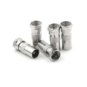 5PCS-F-Male-Plug-To-IEC-DVB-T-TV-PAL-Male-Straight-Coax-Coaxial-RF-Adapter-V-ZT
