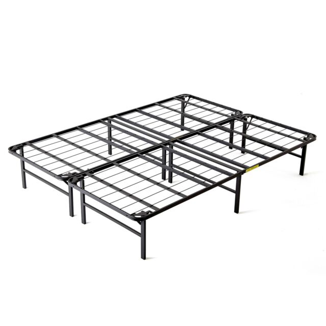 intelliBASE Lightweight Easy Set up Bi-fold Platform Metal Bed Frame ...