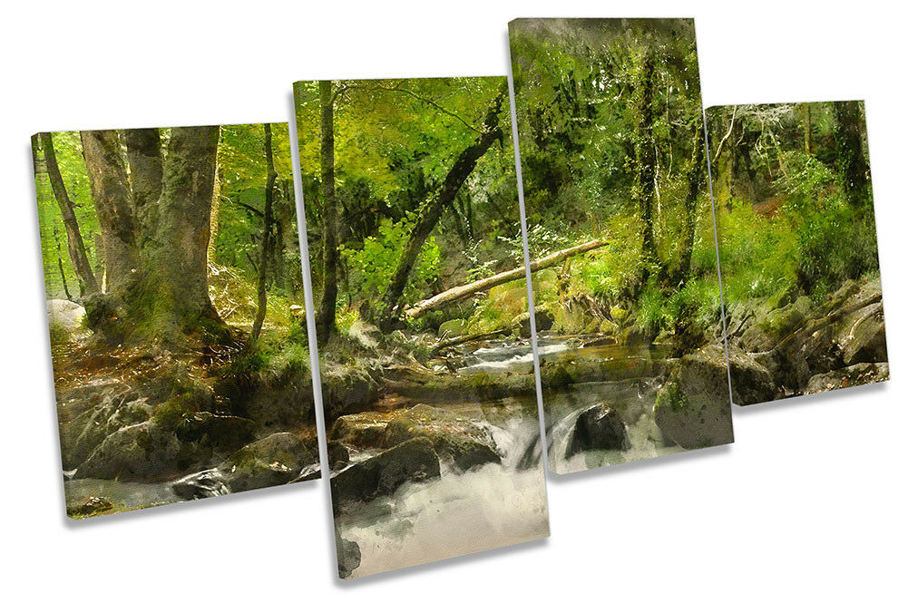 Grün Forest River Modern MULTI CANVAS WALL ARTWORK Print Art