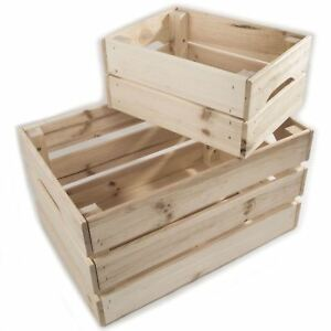 Wooden Crates Storage Boxes 2 Sizes Plain Unpainted Pinewood To
