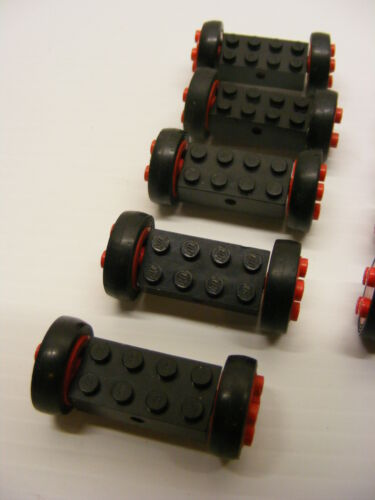 lego lot 7049b RED WHEELS WITH SMOOTH TIRES 5 Pairs