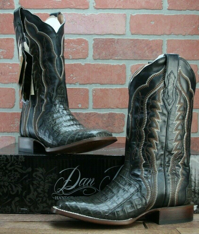 Dan Post Boots Women's Taupe Caiman Belly Cowboy Boots Square Toe Size 7.5 M