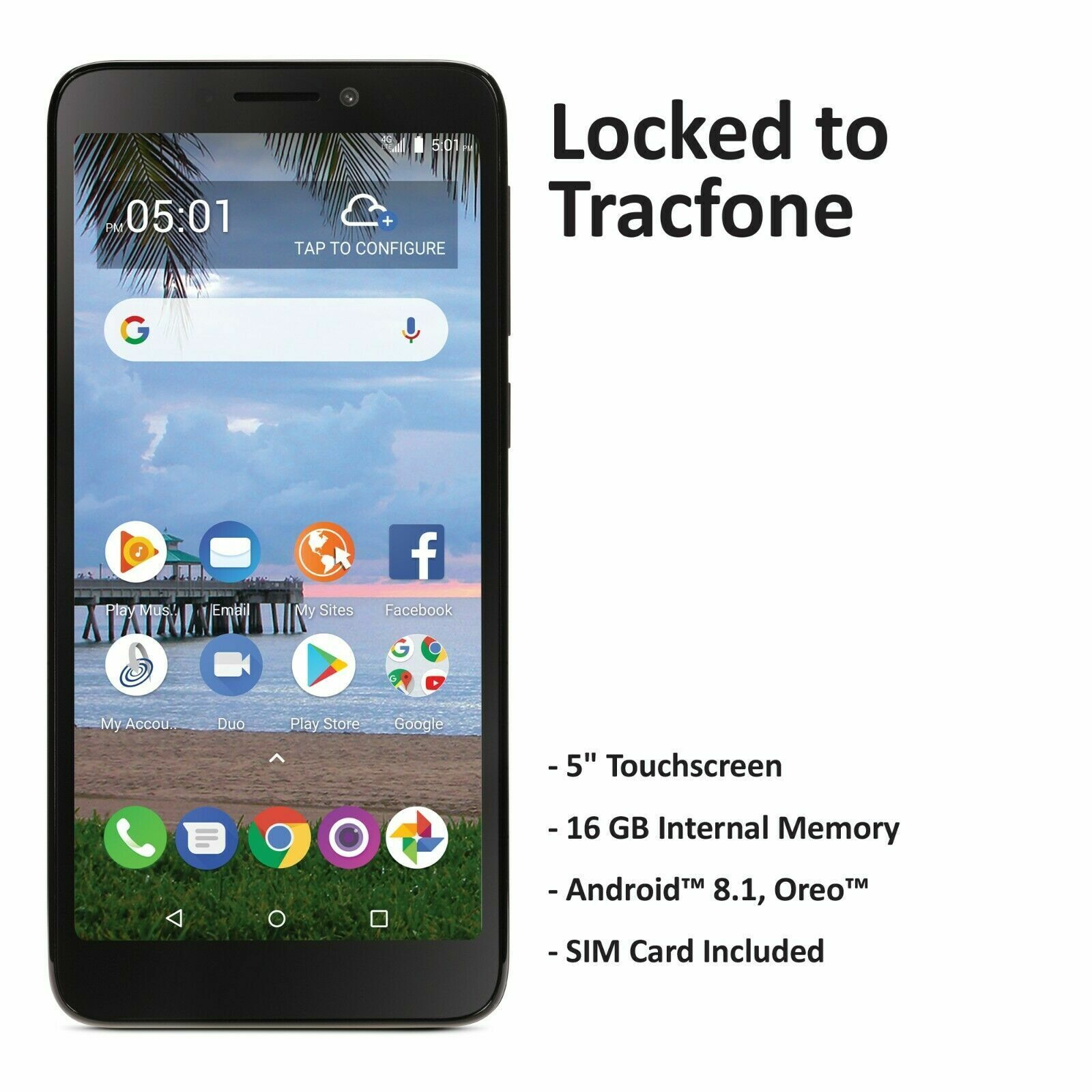 Tracfone TCL A1 4G LTE Prepaid Cell Phone (Refurbished)