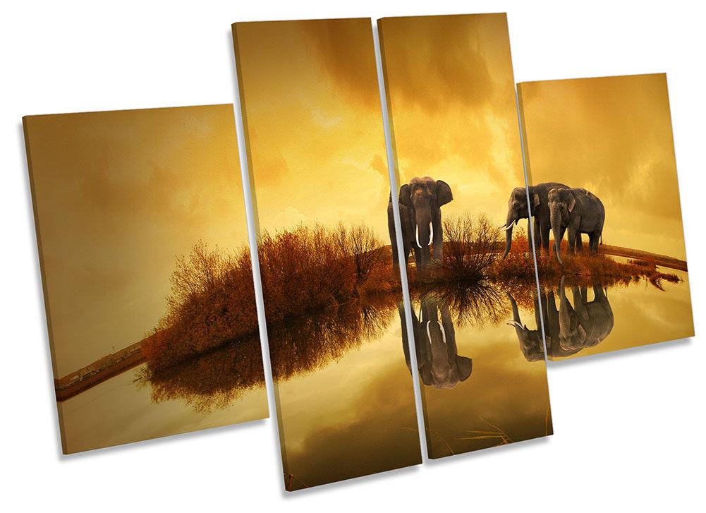 Elephant Sunset Orange Framed CANVAS CANVAS CANVAS PRINT Four Panel Wall Art 539f19