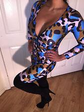 Connie's Animal Print Multi Color Zip Up Front Tan Blue Black Jumpsuit M