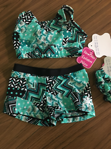New Gymnastic Dance cheer crop top set age 9-10 (30 )by Snowflake-Mint Medley