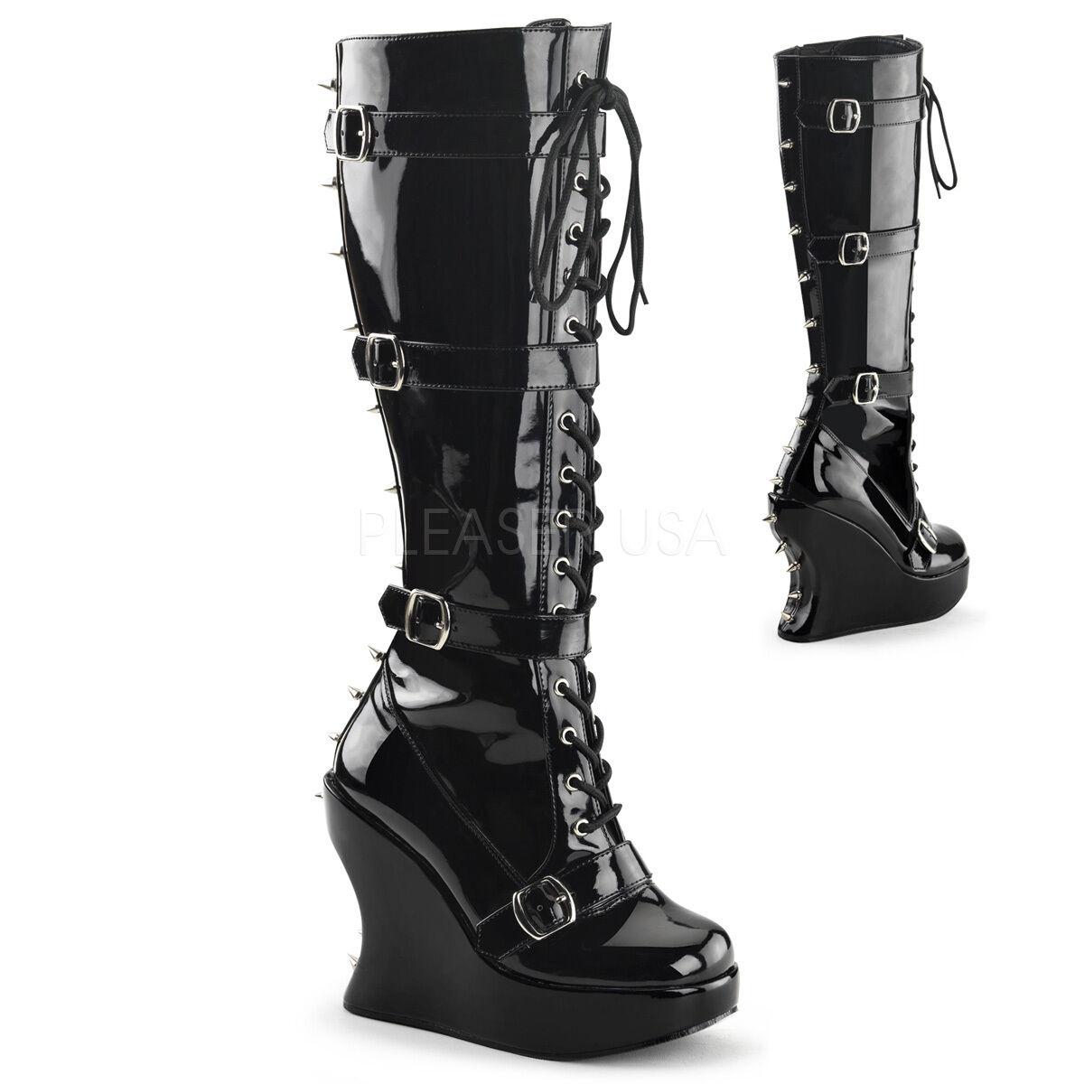 Demonia Bravo-108 Ladies Goth Punk Boots Buckle Straps Featuring Spikes Vegan