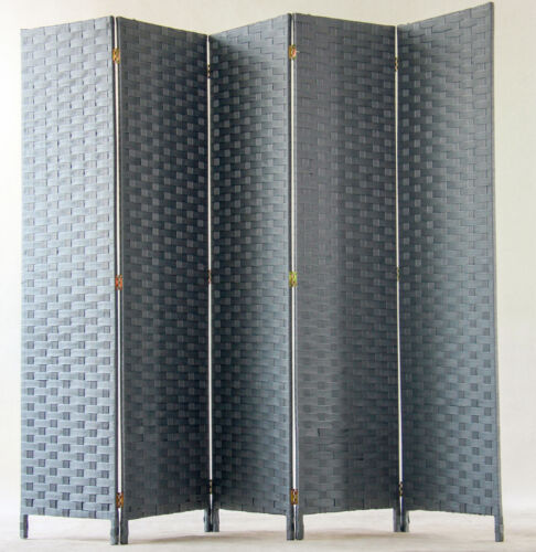 Paravent de 5 pans tressé en fibres synthétiques gris H170 x L200cm