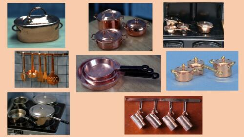 1:12 scale dolls house miniature copper kitchen accessories 8 to choose from.