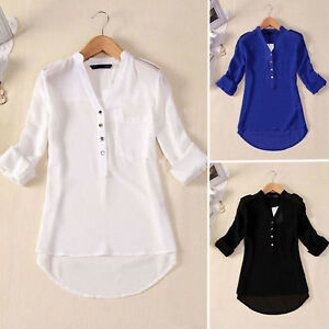 Womens-Chiffon-Buttons-Down-V-Neck-Loose-Long-Sleeve-Shirt-Tops-Blouse-Plus-Size