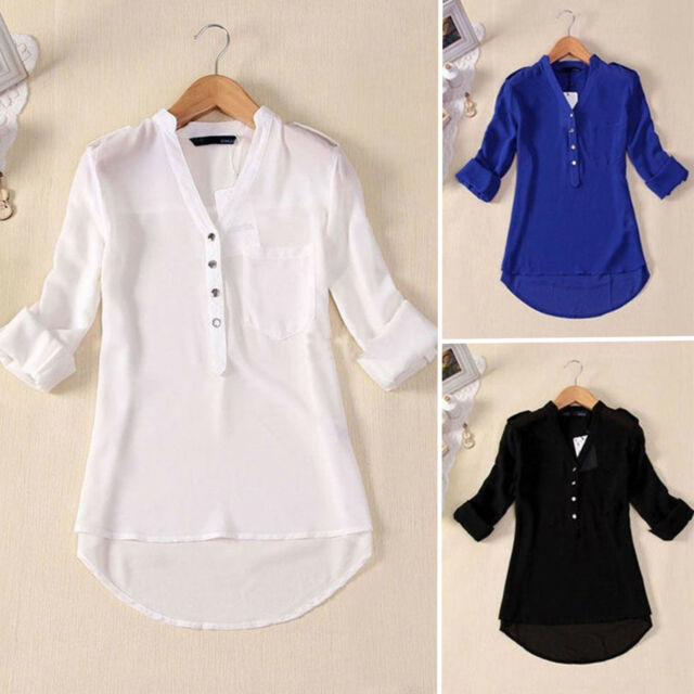 Womens Chiffon Buttons Down V-Neck Loose Long Sleeve Shirt Tops Blouse Plus Size
