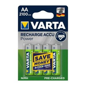 4 Pack VARTA AA Rechargeable Batteries Accu Power 2100mah Capacity Pre Charged