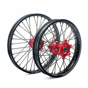 WHEEL-SET-RED-HUBS-HONDA-CR-125-250-CRF-R-250-450-1-60X21-2-15X19-BLACK-RIMS