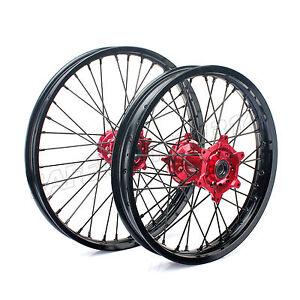 WHEEL-SET-RED-HUBS-HONDA-CR-125-250-CRF-R-250-450-1-60X21-2-15X19-BLACK-RIMS