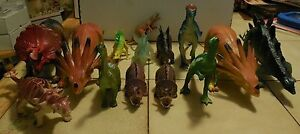 Huge Lot of 14 Different Pretend Play Dinosaurs Figures Rare HTF Jurassic Period