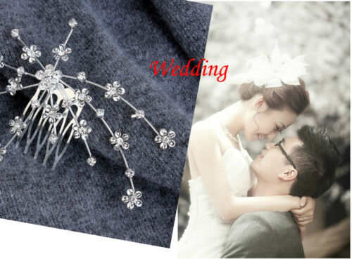 Silver Personality Gem Crystal Wedding Bridal Princess Hair Comb Clip PinJewelry