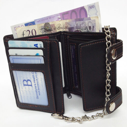 BLACK MENS GENTS TOP QUALITY LEATHER CARD NOTES ZIP WALLET PURSE WITH CHAIN UK