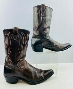 Men-039-s-Sears-Brown-Leather-Pointed-Toe-Western-Cowboy-Boots-Size-11-D