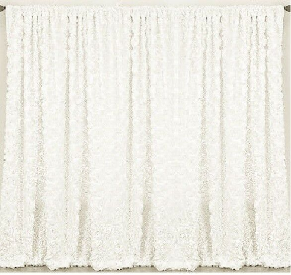 2 Rosette Drape Panels 54 x108  Fenêtre 3D rideaux mariage made in USA