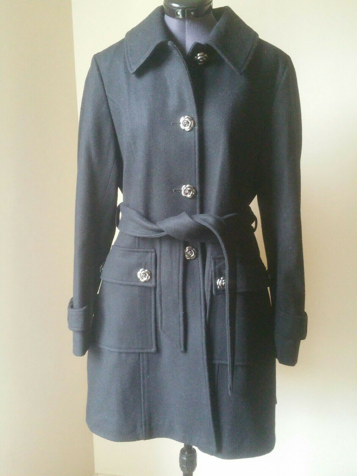 Betsey Johnson Black Wool Blend Rose Button Belted Trench Coat Flared NWOT