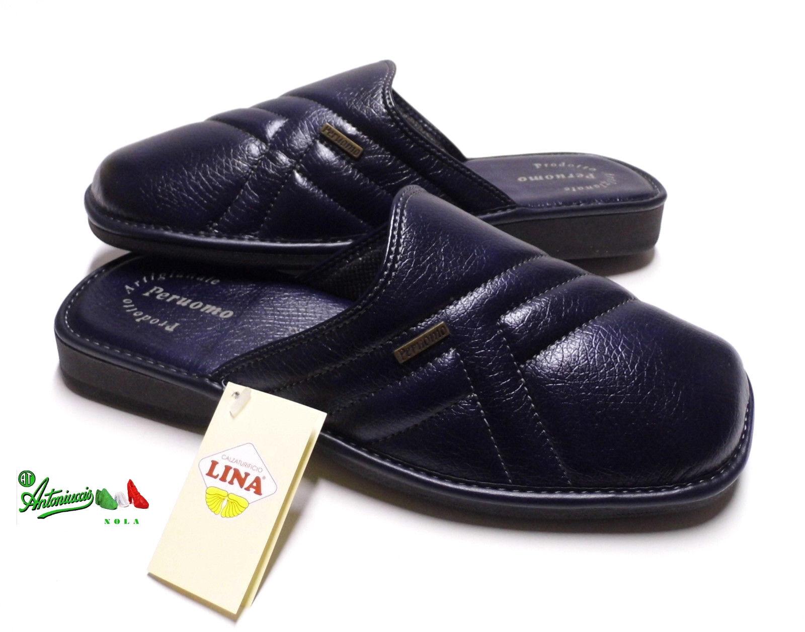Pantofole ciabatte uomo PERUOMObyLINA comode puntachiusa 93982 solettapelle BLU 93982 puntachiusa 0cd190