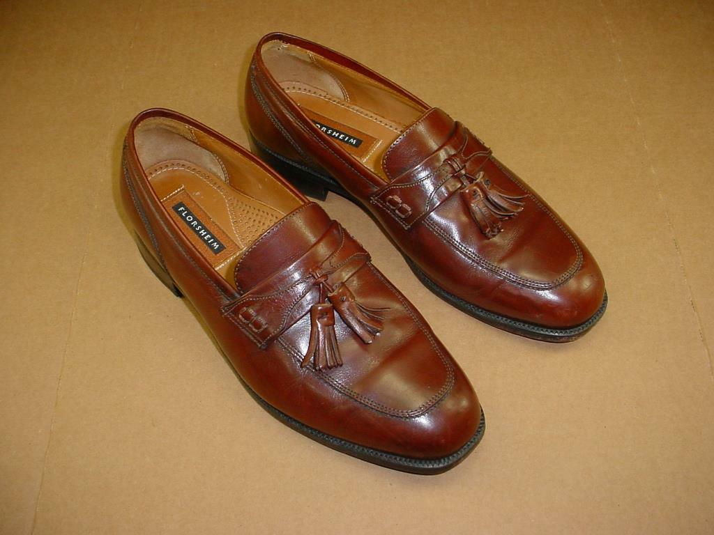 FLORSHEIM BROWN LEATHER TASSEL LOAFERS DRESS SHOES 3 EEE WIDE MENS 8.5 3E