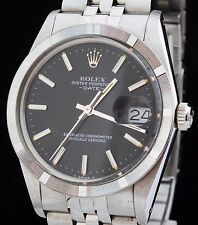 Vintage Mint Rolex SS Date Wrist Watch Black Stick Dial Never Polished Ref: 1501