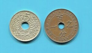 FRENCH-INDO-CHINA-TWO-FANTASTIC-HISTORICAL-COINS-1937-1-CENT-amp-1938-5-CENTS