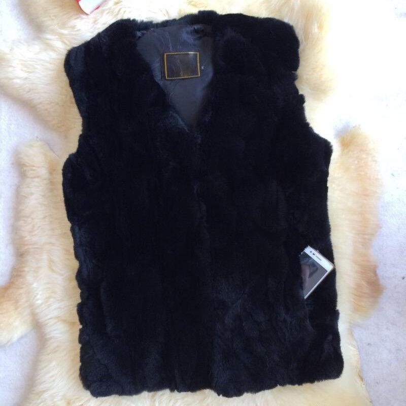 Uomo's Farm reale coniglio pelliccia Smanicato Cappotto CHIC SERIE Caldo Nero Caldo SERIE Inverno 4d8829