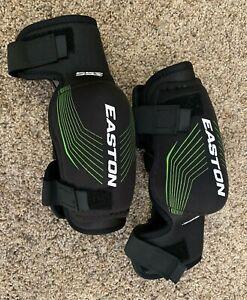 Easton-Stealth-55S-Hockey-Elbow-Pads-Size-Junior-Medium-Black-amp-Green-Stripes