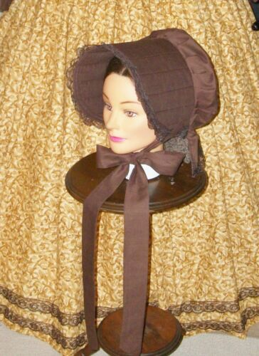 Steampunk Hats | Top Hats | Bowler    CIVIL WAR DRESS VICTORIAN ACCESSORIES LADYS BROWN 100% COTTON SLAT~SUN BONNET $19.95 AT vintagedancer.com