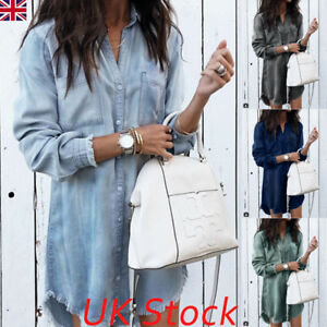 UK-Womens-Denim-Long-Sleeve-Tassel-Blouse-Tops-Mini-Dress-Ladies-Casual-T-Shirt