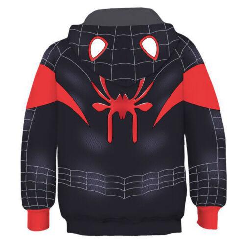 Miles Morales Kid/'s Hoodie Spider-Man Costume Pullover Jacket Printed Sweatshirt