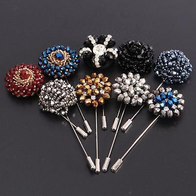 Lapel Flower Bead Camellia Handmade Boutonniere Stick Brooch Pin Men's Accessory