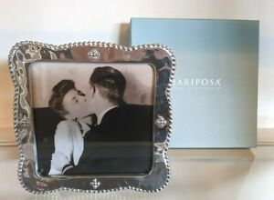 Mariposa 5 X 5 Sueno Square Picture Frame 5x5 Beaded Pearls Silver Photo 2 Avail Ebay