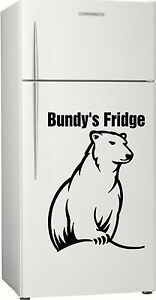 Present 2, Personalised Bundy Bear Fridge, Bar, Rum Sticker Decal, 585 x 400mm