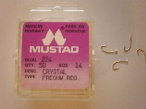 MUSTAD-100-AMI-HOOKS-SERIES-224-CRYSTAL-FRESHWATER-ORO-GOLD